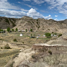 Looking down over the Cains Coulee Campground