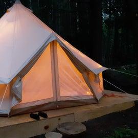The yurt at night