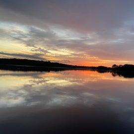 early morning sunrise on the lake