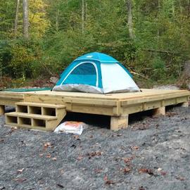 Platform for the tent!