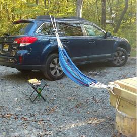 No good trees for my hammock so I improvised.