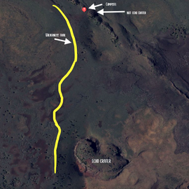 Map of the Echo Crater area and where we actually stayed.