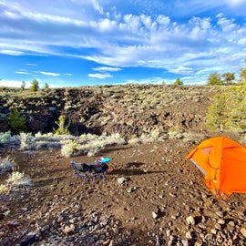Our site setup next to a tiny crater.