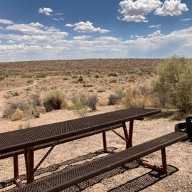 Site 28 picnic table and fire/bbq pit