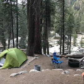 Site 78. Big tent pad. This is with a 4-person tent. Rocks around fire pit were handy to sit on. River is in background, down a little embankment. Easy walk.