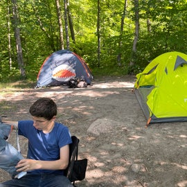 settling into the campsite