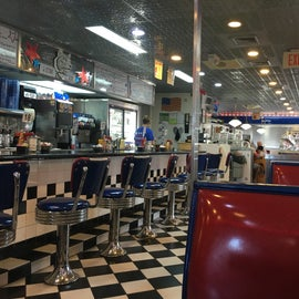This was a good 45 minutes away from the campground it's called four-star American diner. The atmosphere was awesome my server was really good and the food was good