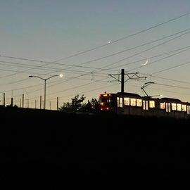 light rail at night