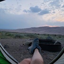 Tent site sunset