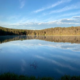 Kneff Lake swimming beach at sunrise.