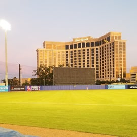 At Shuckers game with view of Beau Rivage Casino