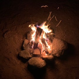 A much appreciated fire on a December night on The Mojave.