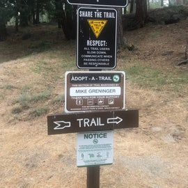 Trailhead at end of campground loop, mostly shaded, relatively steep climb