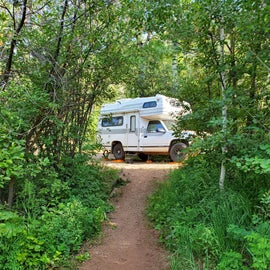 our small rv in a pull through driveway