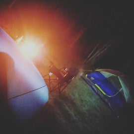 campsite at night with the fire