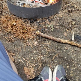 getting the fire ready for dinner