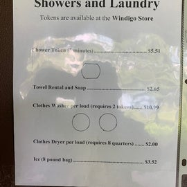 Shower/Laundry prices.