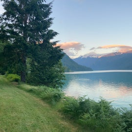 View of Shuksan at sunset from the picnic area above the lake.