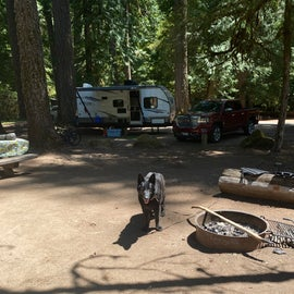 brought our 20' travel trailer. we stayed in a double occupancy site but the sites are pretty spread out