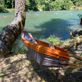 found the perfect hammock place near the cool river!