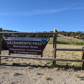 campground sign for Sacramento Pass Rec Area