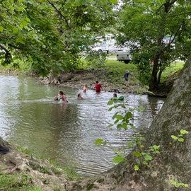 Kids enjoying the stream on a hot day.
