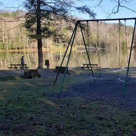 Playgrund by pond