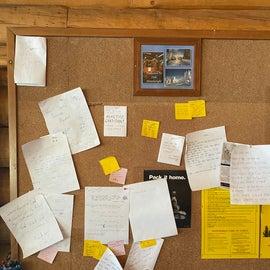 Fun message board inside the warming hut