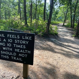 Now this is the signage at the top of the lookout loop...the sign at the campground leads you to believe its easy to moderate...