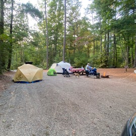 A double site, definitely more a pull through RV/Camper site than a tent site but it worked…and was flat