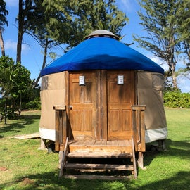Bathroom yurt (every site was assigned its own bathroom for Covid)