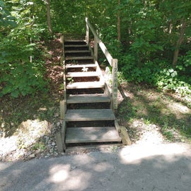 Stairway to our first campsite and we promptly paid the refund fee to be relocated.
