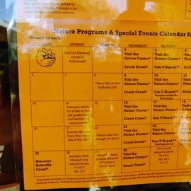 Calendar of the cool activities with Ranger Jenny.
