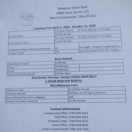 Camping Fees and Rental information still posted in 2021.