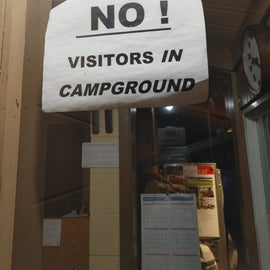 We didn't ask about this but notice they do not want visitors in the campground.