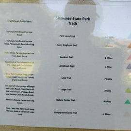 Color code for the various trails within the park.