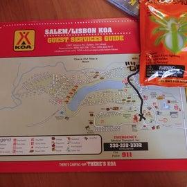 KOA Salem/Lisbon map of campground