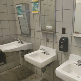 Bathroom has 3 sinks and one is wheel chair accessible. This is the main bathhouse as they have 2 bathrooms onsite.