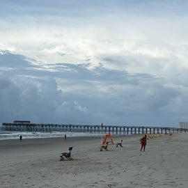 Another shot of the pier (as the lifeguard puts out chairs for rent!)