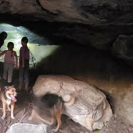 """This is the """"cave"""" and there was a container for people to leave something behind for others to see. It's not a deep cave."""