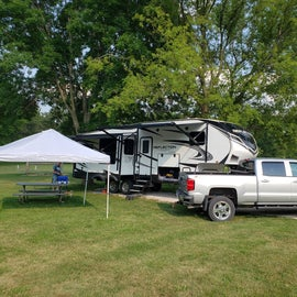 We had to use a pop-up awning for some shade but it is a beautiful campground.