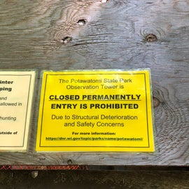 Hiked the Ice Age Trail to climb the tower only to discover it was closed!