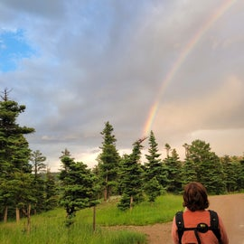 a rainbow in the campground after one of many afternoon thunderstorms