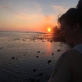 Sunset at beach next to camp