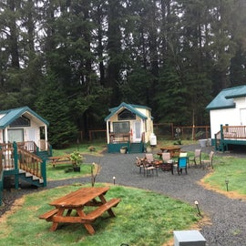 Firepit and picnic tables