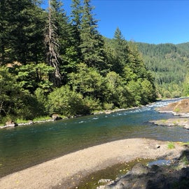 Clackamas River just across the road from the campground