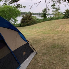 our campsite and the lake