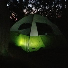 Our campsite at dusk