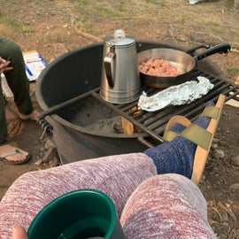 Cooking over the fire