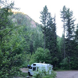 View from the road coming down into the campground